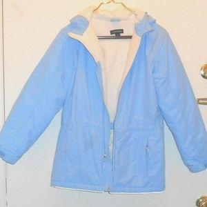 Vintage Thick Light Blue Hooded Lined Jacket Coat